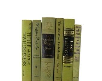 Green Book Set, Acid Green Yellow Vintage Decorative Books,  Rustic Home Decor, Country Home Decor, Wedding Decor,  Holiday, Photo Prop