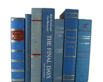 Blue Old   Books, Wedding Decor, Home Decor, Vintage  Books, decorative books, vintage books, library decor, stack of books, Bookshelf Decor