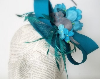 Teal Mouse Novelty Fashion Hat:  Quirky Vintage Rabbit Fascinator for Derby, Easter