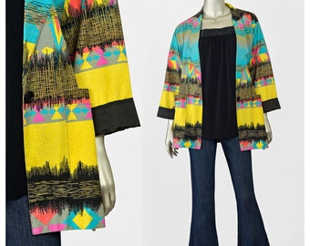SALE - 80s Blazer Jacket • Tribal Print Cotton Jacket • Bright Colorful Southwestern Jacket • Boxy Oversize Long Blazer • Boyfriend Jacket