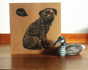 Border Terrier, Animal linocut card, Original Hand Printed Card, Blank Greeting Card, Brown Kraft Card, Free Postage in UK,