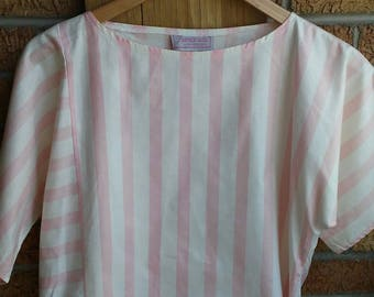 Vintage Pink and white stripe Crop Top Sz M