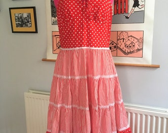 Vintage 70s Red and White Polka Dot and Stripes Prairie Dress S/M