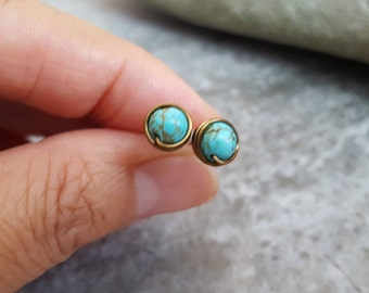 Blue Turquoise Studs, Post  Earrings - Natural Gemstone, Antique Bronze, Earth Tone, Wire Wrapped, Jingsbeadingworld, Inspired by Nature