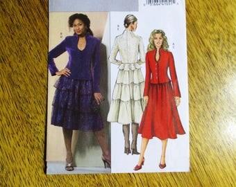 ELEGANT Fitted Peplum Jacket w/ Keyhole Neckline & BOHO Tiered Ruffle Skirt  - Plus Size (14 - 20) - UNCUT ff Sewing Pattern Butterick 4868