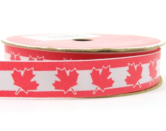 "5/8"" Canadian Flag Ribbon, 3 yard roll of Canadian Ribbon, Red Maple Ribbon, 5/8 inch wide 3 yards long, imperfect discounted"