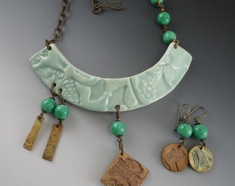 Ceramic Clay Bib Necklace with Earrings - Ginkgo Leaves - Bronze Pendants - Miriam Haskell Beads - (662)