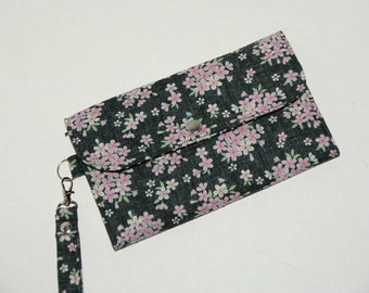 "Multi-Case Wristlet Wallet / Cell Phone Wristlet / Travel Pouch Made with ""Japanese Kimono Print - Sakura Blossom"""