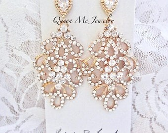 Gold chandelier earrings - Gold crystal earrings- Brides earrings, Gold wedding earrings, Sterling posts, Pageant earrings, MEG