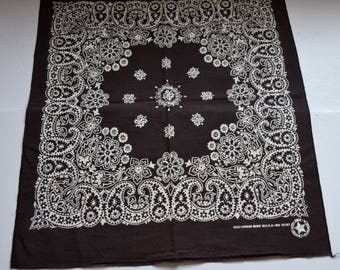 Vintage black, white bandana cowboy cowgirl Bandana biker head scarf all cotton Paisleys floral bandana crafted with pride in Made in USA