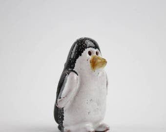 Vintage Clay Pottery Penguin Figurine - Unique OOAK Black and White Tuxedo Penguin Collectible