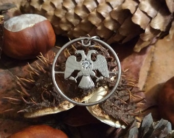 Openheart Double eagle Gemmed coin cut charm Coin jewelry necklace pendant charm