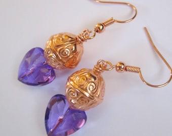 Hearts of Purple Earrings