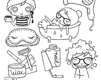 Planner Girl - Pampering Stamp Clipart - Planner Stickers, scrapbook , card design, invitations, paper crafts, web design - INSTANT DOWNLOAD