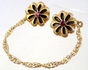 FREE Shipping Vintage Flower Sweater Clasp Clip Pin Brooch Daisy Flower Purple Rhinestone and black Gold Tone Chain Cardigan Collar Shawl