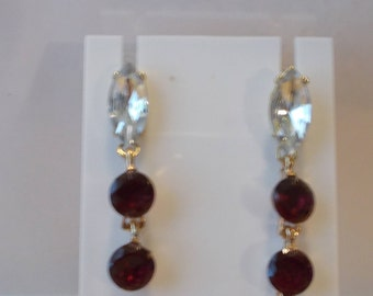 Gold Tone Post/Stud Dangle Earrings with Clear and Amber Crystal Beads