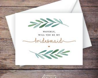 Custom Printable Will You Be My Bridesmaid Card, Be My Bridesmaid Greeting Card, Wedding Card