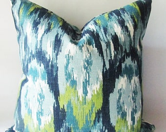 "Blue Pillow Cover- Ikat Pillow Cover- Blue Ikat Pillow  - Modern Pillow Cover.16"",17"",18"",20""Lumbar Pillow or Euro Sham"