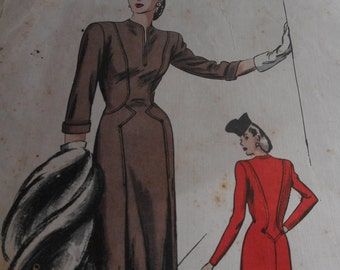 RARE Vintage 1940's Vogue No. 227 Couturier Design Dress Sewing Pattern, Size 14 Bust 32