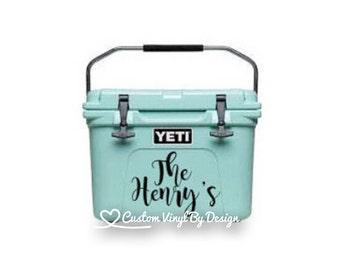 Yeti Cooler Monogram Decal | Yeti Cooler Decal | Yeti Cooler Sticker | Yeti Cooler Name Tag | Yeti Cooler Decal for Women | Ships Free