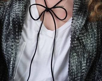 "Choker Necklace... NEW ""Lil Black Bow"" genuine leather wrap around choker necklace."