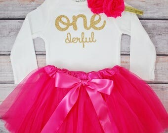 One-derful First birthday outfit girl Pink and gold birthday outfit 1st birthday girl outfit Baby girl first birthday outfit Onederful