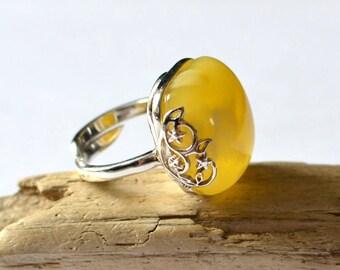 Natural Amber Ring, Amber & Silver Ring, Egg yolk Amber Jewelry, Gemstone Ring, Pure Amber Ring
