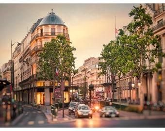 Paris cityscape print, Paris large wall art, Evening in Paris photography, Paris lights photo, City Street art picture, 12x16, 20x30, 24x36