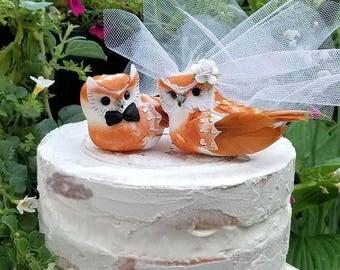 BIG 2017 SALE choose your female owl  head flower  wedding  wonderful rustic owls  wedding cake topper or wedding anniversary