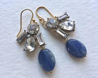 Kyanite and Crystal Earrings by KarenWhalenDesigns