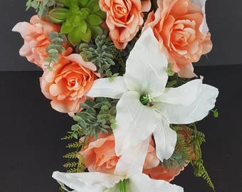 Succulent Bouquet Coral Rose And White Lily Bridal Set Reef Wedding