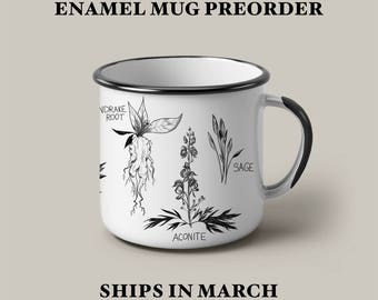 PREORDER Witch's Herbs enamel mug, camping campfire mug, hygge, cozy, kitchen witch mug, green witch, witchcraft, witchy goth