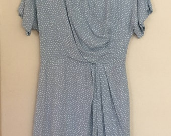 Vintage Gathered Polka Dot Midi Dress
