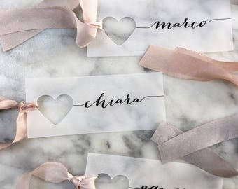 vellum place cards wedding place cards place cards heart name tags wedding