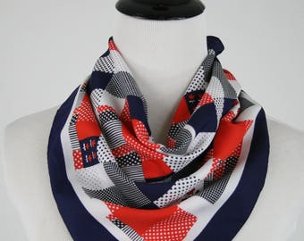 1970s Dots, Squares, and Posies Red, White, and Blue Square Scarf