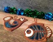Victoria Littlejohn Pottery - Vintage Studio Ceramics - Mid Century pottery -  Bird & Angel Fish Trivets - Wall decor - Victoria Littlejohn