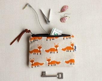 Fox Coin Purse, Zipper Wallets, Woman Coin Pouch, Change Purse, Small Zipper Wallet, Women Make Up Bag
