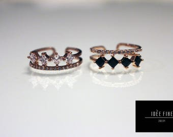 Black Midnight or Crystal White Extendable One Size Ring