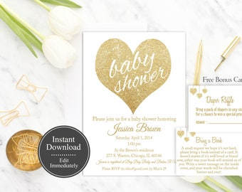 Printable White Baby Shower Invitation Template | White Gold | Instant Download | Gender Neutral Baby Shower | Gold Glitter | Gold White