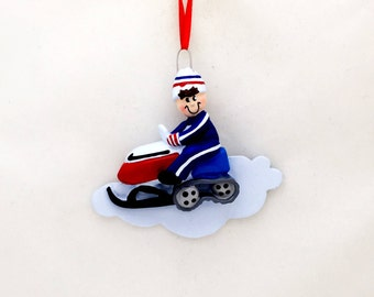 FREE SHIPPING Red Snowmobiler Personalized Christmas Ornament / Snowmobile Ornament / Snowmobiling Ornament / Personalized Name or Message