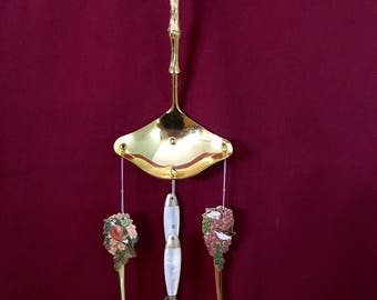 Mother of Pearl and Enamel Birds Wind Chime