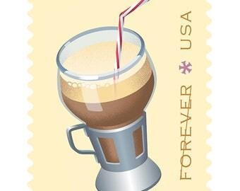 10 Unused Chocolate Malt Forever Postage Stamps // Retro 50's Malt Shop Forever Stamps for Mailing