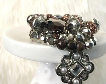 Brown Bracelet, Brown Bracelet Set, Bracelet Set, Brown Stack Charm Bracelets, Jewelry Set, Brown Earrings