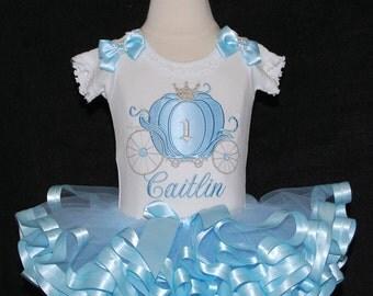 Cinderella Carriage Princess 1st BirthdayTutuOutfit Blue and Silver 2 piece Baby tutu Princess 1st birthday tutu dress Fancy Cinderella tutu