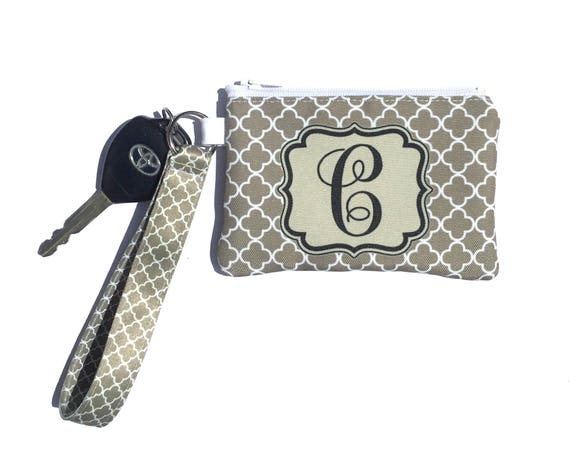 Monogrammed ID Wallet Monogram Key Chain Key Fob Key Chain Zipper Wallet Personalized Wristlet Badge Holder ID Holder Cute Car Accessories