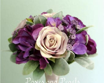 """Lavender Rose and Purple Hydrangea Silk Flower Wedding Bouquet with Queen Anne's Lace, Bridal or Bridesmaid Bouquet, """"Sarah"""""""