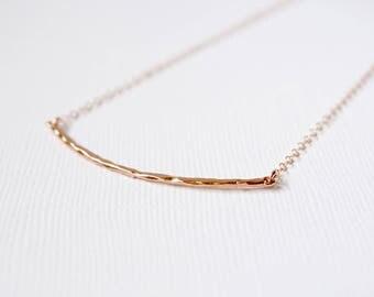 Curved Bar Necklace, Rose Gold Hammered Curved Bar Necklace, Sterling Silver Curved Bar Choker, Rose Gold Curved Bar Necklace, Modern Choker