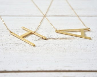 Gold Letter Necklace, Rose Gold Initial Necklace, Silver Letter Necklace, Sideways Initial Necklace, Initial Jewelry, Personalized Gift