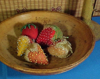 Antique Strawberry Emery Pin Cushions, Native American Beaded, Sewing