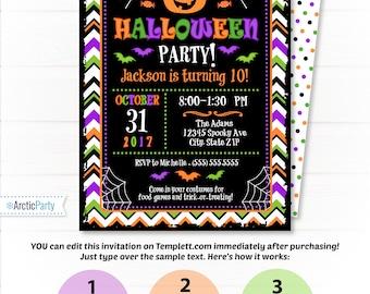 Halloween Invitations - Halloween Party Invitations - Halloween Birthday Invitations  - INSTANT ACCESS - Halloween Party Supplies